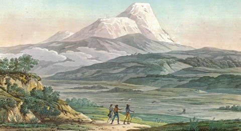 Tafel XLII, Vue du Cayambe, in: Humboldt, Alexander von ([1810-]1813): Vues des Cordillères et monumens des peuples indigènes de l'Amérique. Paris: Schoell. (Quelle: Wellcome Library, London)